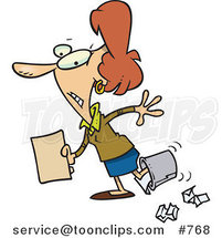 Cartoon Clumsy White Business Woman Walking with Her Foot in a Trash Bin by Ron Leishman