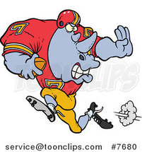 Cartoon Football Rhino Running by Ron Leishman