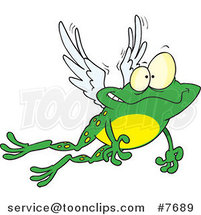 Cartoon Flying Winged Frog by Ron Leishman