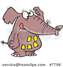 Cartoon Forgetful Elephant with Notes on His Belly by Toonaday