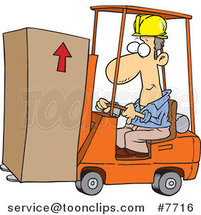 Cartoon Forklift Operator Moving a Box by Ron Leishman