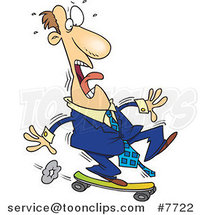 Cartoon Foolish Business Man Riding a Skateboard by Ron Leishman