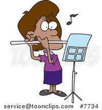 Cartoon Flautist Girl by Ron Leishman