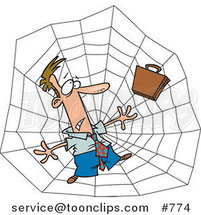 Cartoon White Business Man Caught in a Web by Ron Leishman