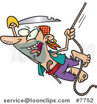 Cartoon Attacking Pirate Swinging on a Rope by Toonaday