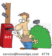 Cartoon Security Cameras on a Guy Putting a Letter in a Mail Box by Ron Leishman