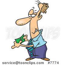 Cartoon Business Man Holding Fake Money by Ron Leishman