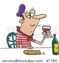 Cartoon French Guy with Wine and Bread by Ron Leishman