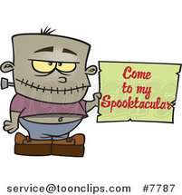 Cartoon Frankenstein Boy Holding a Come to My Spooktacular Party Sign by Ron Leishman