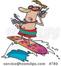 Cartoon White Business Man Talking on a Cell Phone While Surfing by Ron Leishman