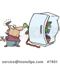 Cartoon Guy Standing Before a Packed Refrigerator by Toonaday
