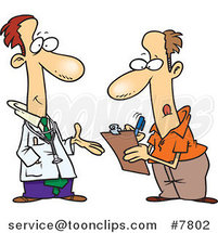 Cartoon Doctor Talking to a Patient Filling out Forms by Ron Leishman