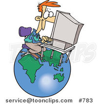 Cartoon White Business Man Working on a Computer over a Globe by Ron Leishman