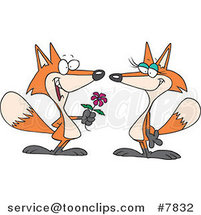 Cartoon Romantic Fox Giving His Mate a Flower by Ron Leishman