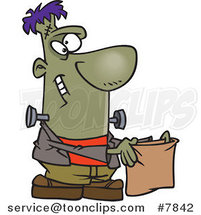 Cartoon Frankenstein Holding a Treat Bag by Ron Leishman
