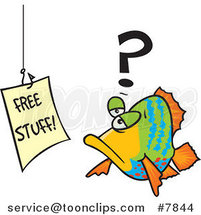 Cartoon Fish Staring at a Free Stuff Sign by Ron Leishman