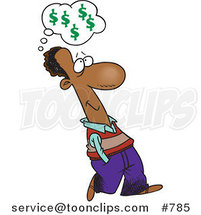 Cartoon Black Business Man Walking and Thinking About Finances by Toonaday