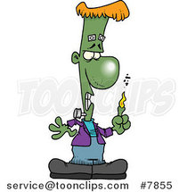 Cartoon Frankenstein with a Burning Finger by Ron Leishman