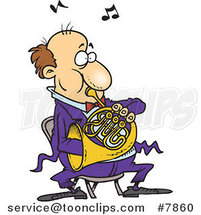 Cartoon Guy Blowing into a French Horn by Ron Leishman