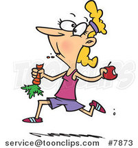Cartoon Female Jogger Eating Her Fruits and Veggies by Ron Leishman