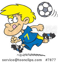 Cartoon Running Soccer Boy by Ron Leishman