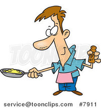 Cartoon Guy Wearing an Apron and Cooking Eggs by Ron Leishman