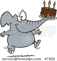 Cartoon Birthday Elephant Carrying a Cake by Ron Leishman