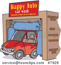 Cartoon Car Driving Through an Auto Wash by Ron Leishman