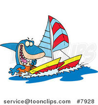 Cartoon Shark Sailing a Catamaran by Ron Leishman