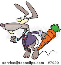 Cartoon Business Rabbit Carrying a Carrot Case by Ron Leishman