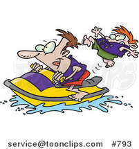 Cartoon Father and Son Riding a Jet Ski by Ron Leishman