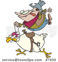 Cartoon Cowboy Riding a Chicken by Ron Leishman