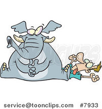 Cartoon Elephant Sitting on a Guy's Chest by Toonaday