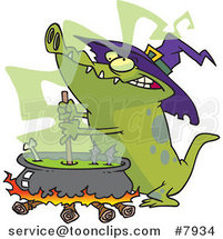 Cartoon Witch Alligator Sitring a Cauldron by Ron Leishman