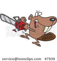 Cartoon Beaver Using a Chainsaw by Ron Leishman