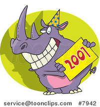 Cartoon New Year Rhino Holding a Sign by Toonaday