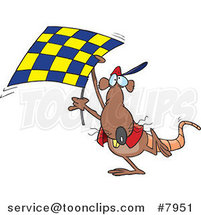 Cartoon Rat Carrying a Checkered Flag by Ron Leishman