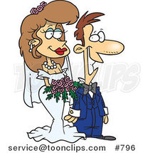 Cartoon Pleased White Wedding Couple by Toonaday