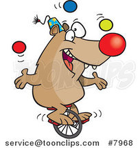 Cartoon Circus Bear Juggling on a Unicycle by Toonaday