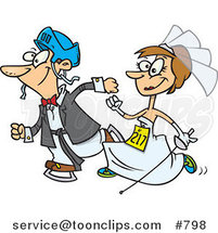 Cartoon White Wedding Couple Running in a Race by Toonaday