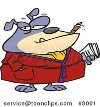 Cartoon Bulldog Smoking a Cigar in His Robe by Ron Leishman