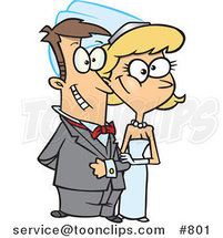 Cartoon Happy White Wedding Couple by Toonaday