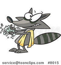 Cartoon Raccoon Washing His Hands by Ron Leishman