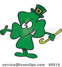 Cartoon Presenting St Patricks Day Clover by Ron Leishman