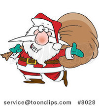 Cartoon Santa Happily Carrying a Sack by Ron Leishman