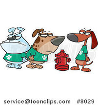 Cartoon Clique of Dogs by a Hydrant by Ron Leishman