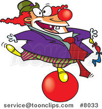 Cartoon Clown Balancing on a Ball by Ron Leishman
