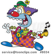 Cartoon Party Clown Using a Horn by Ron Leishman