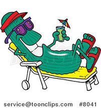 Cartoon Cool Cucumber in a Lounge Chair by Toonaday