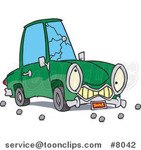 Cartoon Car with a Cracked Windshield by Ron Leishman